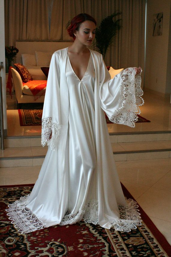 Satin Bridal Robe Wedding Trousseau Sleepwear Wedding Robe Bridal Lingerie Venise Lace Art Deco Wedding Lingerie Sarafina Dreams