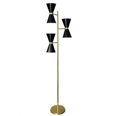 869384b41c8 Brass floor lamp with three black metal adjustable shades. lamp  black   floorlamp  interiordesign