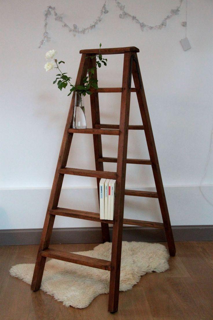 Ancien escabeau de peintre en bois, échelle double pour bibliothèqu ~ Escabeau En Bois