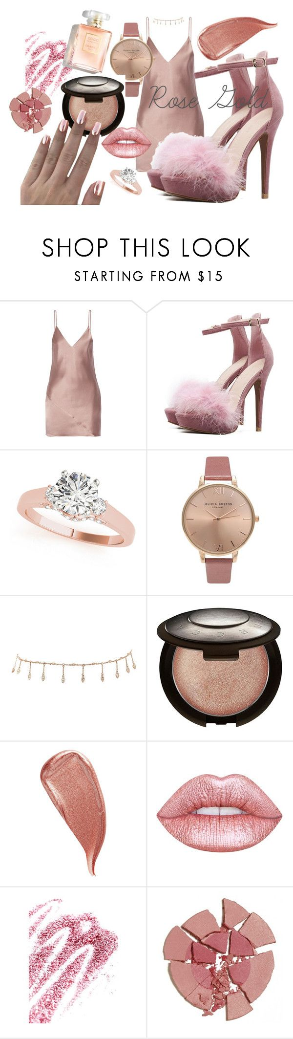 """""""Rosy"""" by sweatpantsarevogue ❤ liked on Polyvore featuring Fleur du Mal, Olivia Burton, Luv Aj, Becca, Kevyn Aucoin, Lime Crime, Obsessive Compulsive Cosmetics and Charlotte Tilbury"""