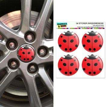 Lady Bug - Insect Ladybug Wheel Center Cap 3D Domed Stickers Badges - Set of 4