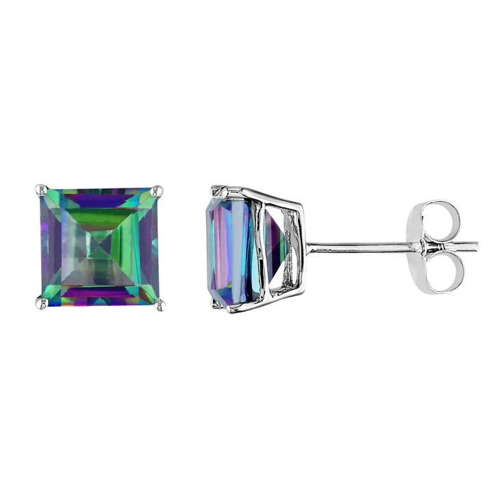 Exotic Green Topaz 10k White Gold Stud Earrings, Women's