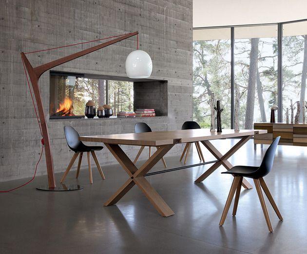 oxymore table diner large rectangulaire bois lampadaire Rachel Bobois