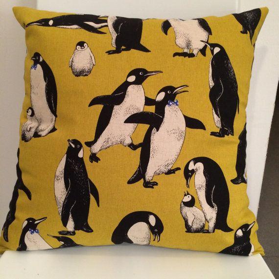 Penguins Mustard Cushion
