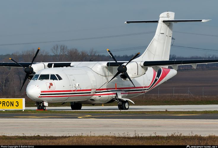 Aviavilsa ATR 42-300(F) LY-ETM aircraft, parked at Hungary Gyor-Per Airport. 11/01/2014.