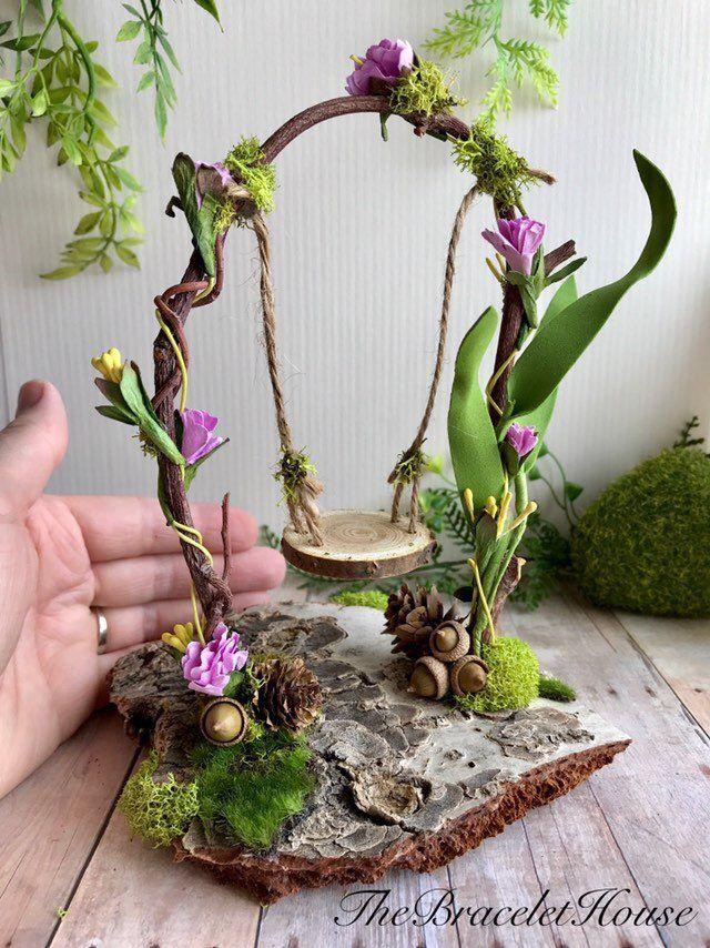 Fairy garden swing, fairy dollhouse miniatures, woodland fairy arch