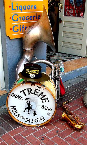 Instruments of the Treme Brass Band.