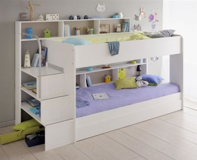Kids Avenue Bibop 2 white bunk bed with shelves