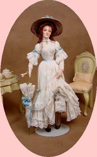 1:12 Dollhouse Miniature Doll by CDHM Artisan Gina Bellous IGMA Artisan of Gina C. Bellous Miniature Dolls, www.cdhm.org/user/gbellous