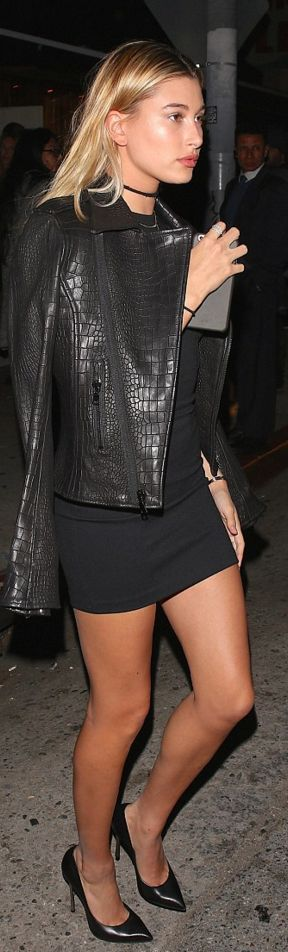 Who made Hailey Baldwin's black pumps and snake print leather jacket