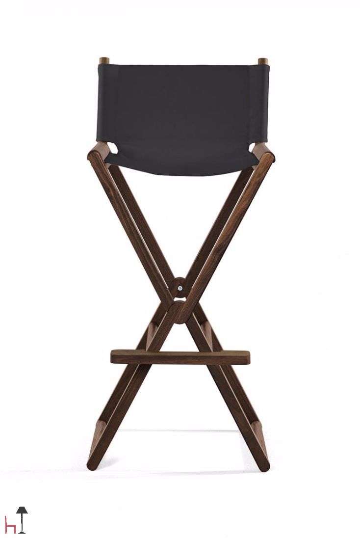The Treee Set is a folding bar stool with a solid wooden structure.