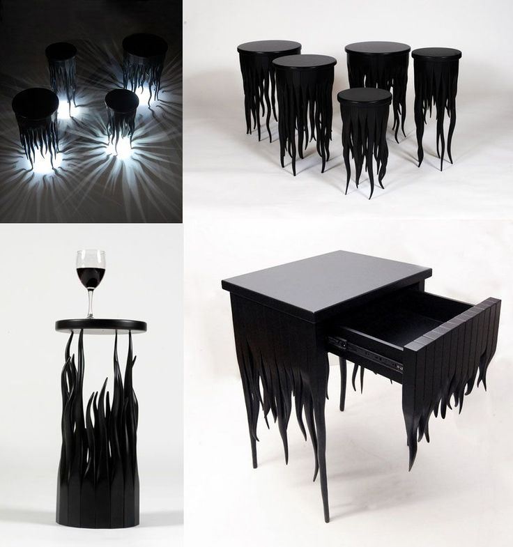 Furniture with melted candle wax effect or ragged fabric,very witchy me thinks.