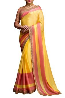 Yellow Crepe Embroidered Saree by Stylee Lifestyle, Saree with Blouse Piece #saree #indianwear #ethnicwear #traditional #indianoutfit #fashion #indianfashion #sareewithblouses #ootd #potd #colorful #pretty #beautiful #glitstreet