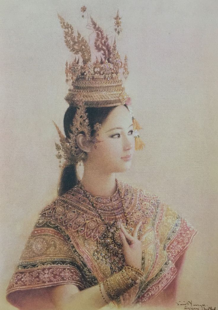 """""""A dancer wearing the flaming headdress"""", 1982, oil on canvas, by a Thai national artist Chakrabhand Posayakrit"""