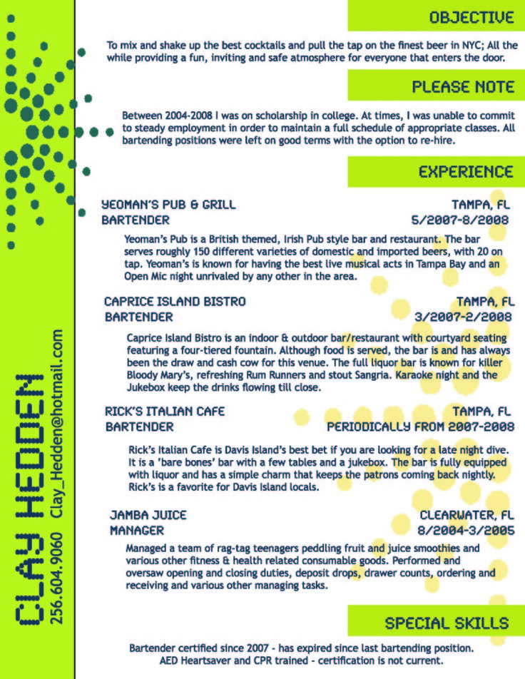 Bartending Resume Templates Examples Of Bartender Resumes Head - free bartender resume templates