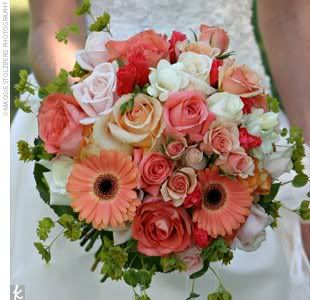 Coral wedding bouquet take out the greens and add dusty miller to give you the grey your looking for