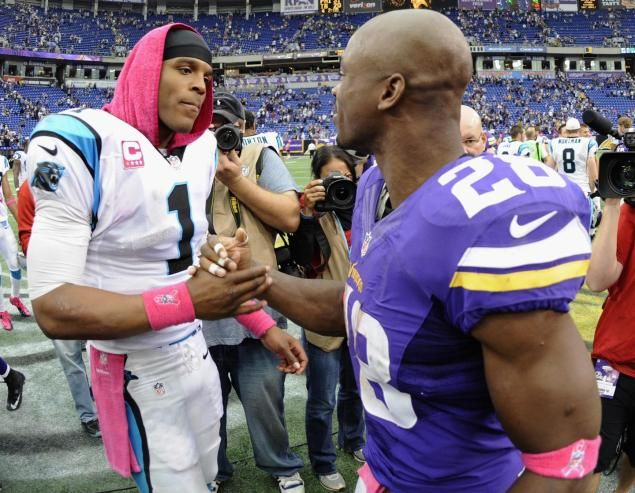 Cam Newton and Adrian Peterson. Glad my Panthers finally got a victory but you can't help but feel for Adrian's loss. Losing a child is something I hope I never go through.