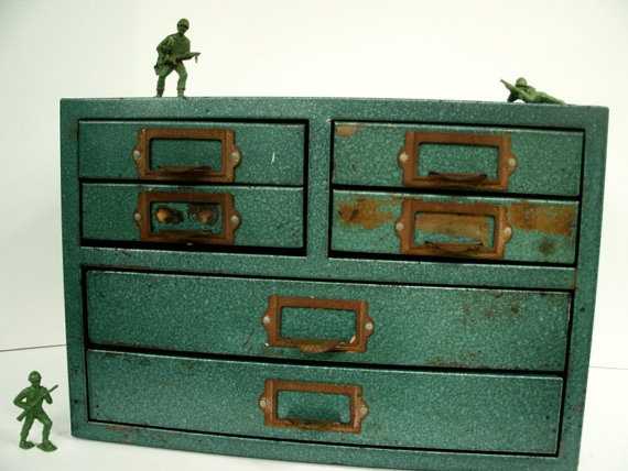 industrial metal file cabinet six drawers of great by VintageBroad, $48.00