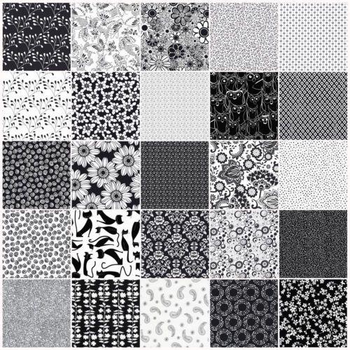Black-amp-White-Patchwork-Stoffe-Baumwolle-ab-10-cm-x-110-cm-schwarz-weiss