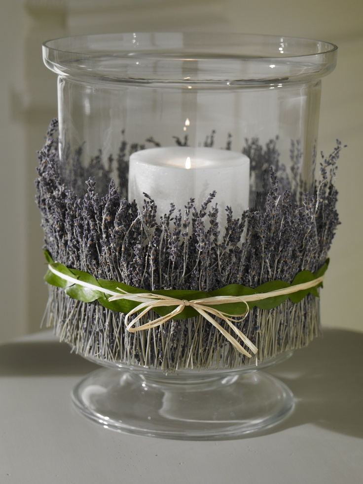 Wrap your favorite dried flowers or herbs around our hurricane for added fragrance. We used double stick tape to secure and then tied with raffia.