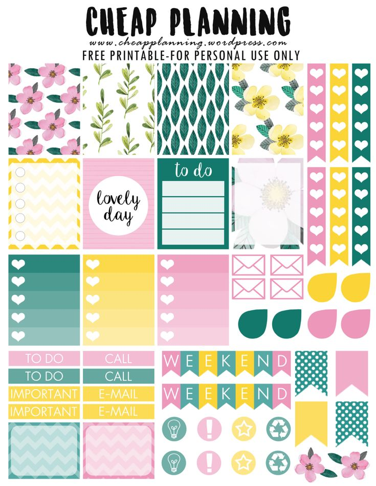 FREE Printable Floral Planner Stickers by Cheap Planning