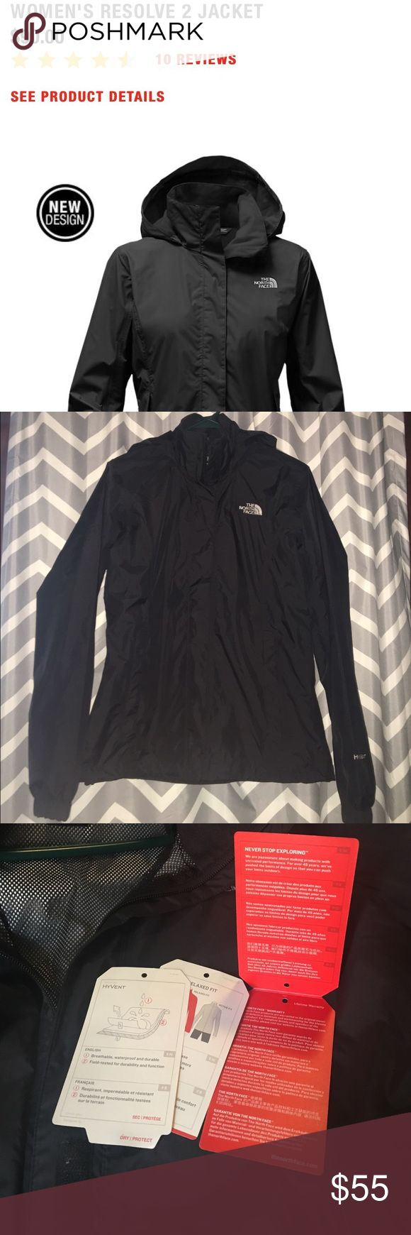 NWT! Authentic North Face hooded rain/wind jacket All black jacket w/ hood that can be folded in collar. Light weight, breathable, waterproof & windproof! Removed tags to wear to a game but it stopped raining so I never wore! Tags included! The North Face Jackets & Coats Utility Jackets