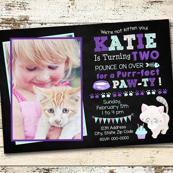 Kitten Birthday Invitation Kitten Birthday Kitten