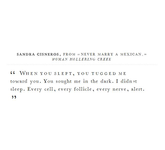 """ When you slept, you tugged me toward you. You sought me in the dark. I didn't sleep. Every cell, every follicle, every nerve, alert. "" - Sandra Cisneros, Never Marry a Mexican"
