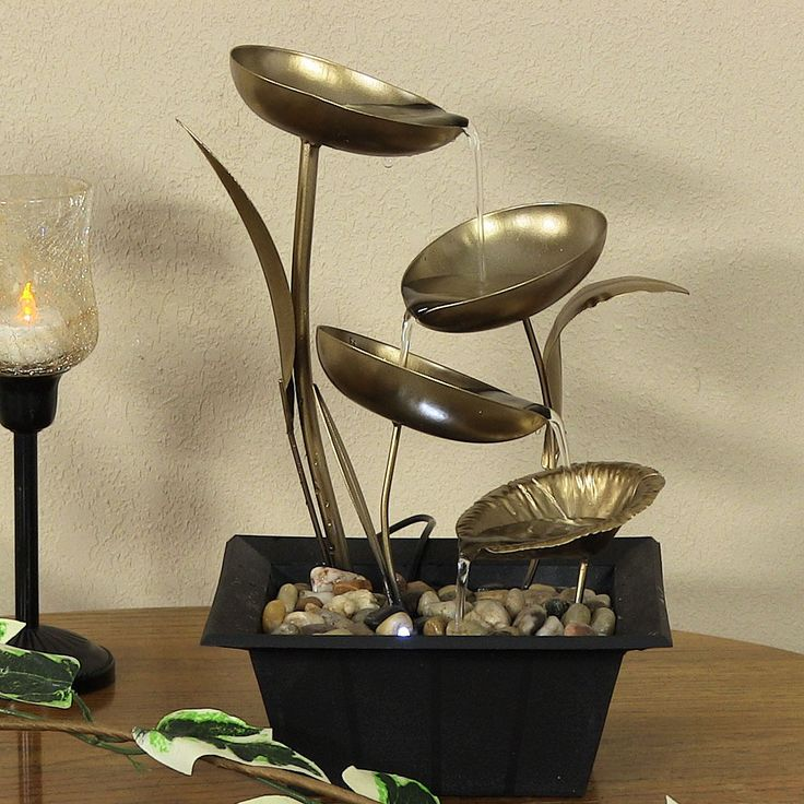 Sunnydaze Four Leaf Cascading Tabletop Fountain, 12 Inch Tall | Tabletop  Fountain, Tabletop And Fountain