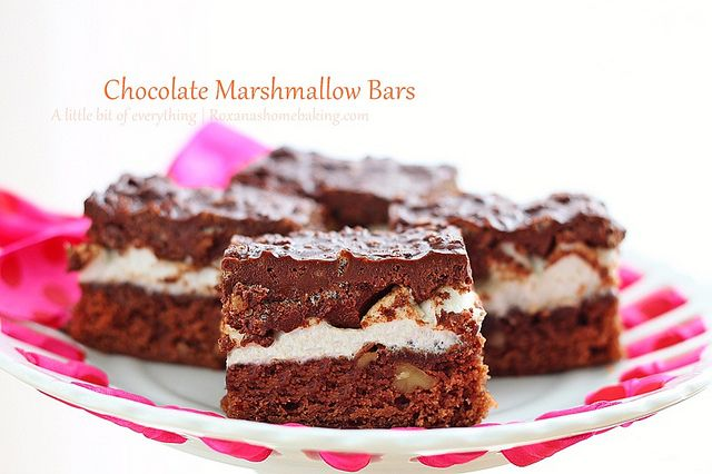 Chocolate Marshmallow Bars www.roxanashomeba...: Chocolate Marshmallows, Sweet, Home Baking, Chocolates Marshmallows, Food, Apples Pies Bar, Marshmallows Bar, Cookies Bars Brownies, Bar Recipes