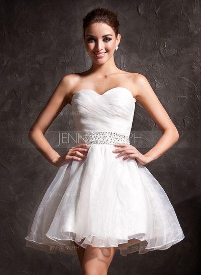 Свадебные платья - $99.99 - Трапеция/Принцесса В виде сердца Короткий&мини Органза Свадебные Платье с Рябь Бисер блестками (002011383) http://jennyjoseph.com/A-Line-Princess-Sweetheart-Short-Mini-Organza-Wedding-Dress-With-Ruffle-Beading-Sequins-002011383-g11383
