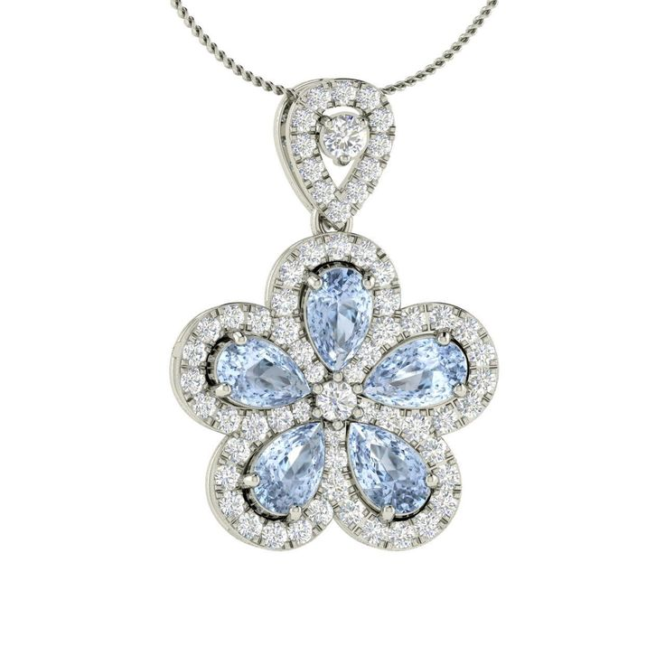 Aquamarine & Diamond Flower Pendant / Necklace in White Gold-1.50 Ct Mothers Day | eBay
