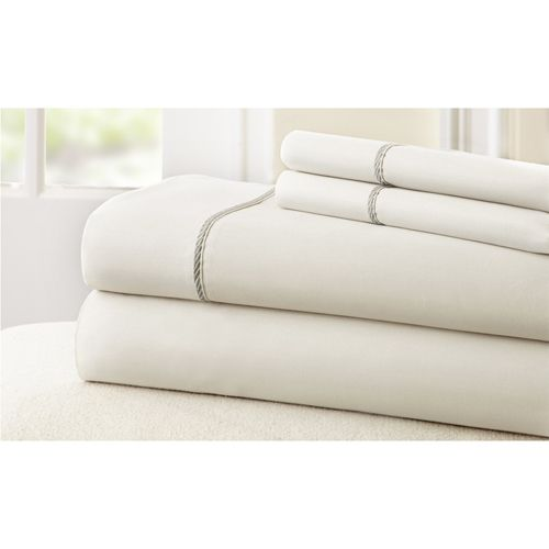 Fine Linens White and Gray Four-Piece 400 Thread Count California King Sheet Set - (In No Image Available)