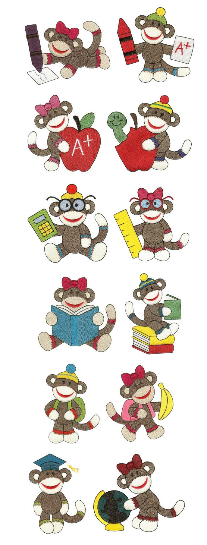 Back to School Sock Monkeys Filled Set