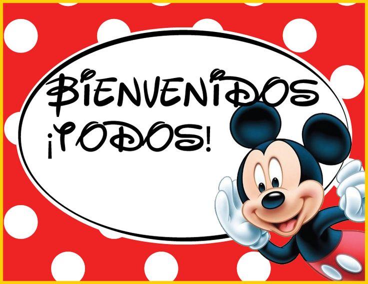 Empieza colocando los letreros en el lugar para que todo mundo entre en ambiente, hice los letreros con la tipografía de Disney y están listo para imprimir tamaño carta (SOLO DA CLICK PARA VER EN GRANDE): bienvenida-mickey