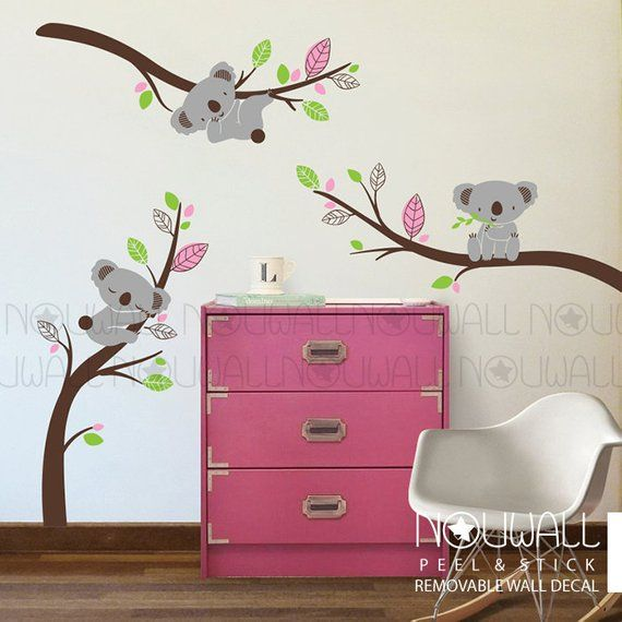 Removable Grey Koala Bear Wall Decal On Branches Animal Nursery