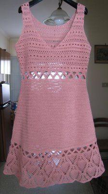 ~Vestido rosa de crochet