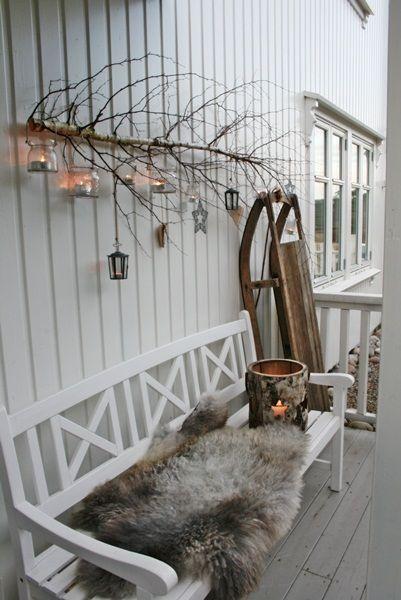 Winter porch. Rustic luxe simplicity.