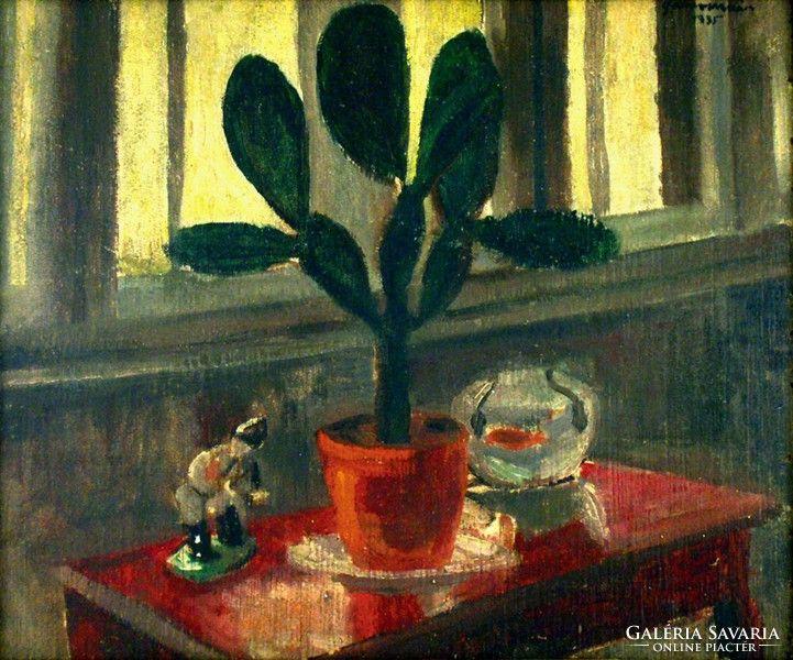 Gábor Móric : Csendélet kaktusszal, aranyhallal