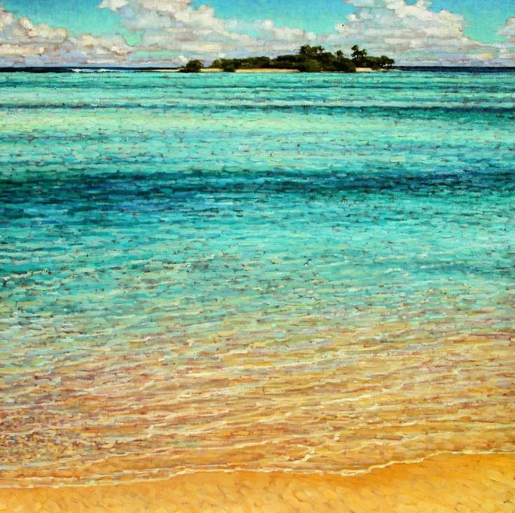 Tranquil Waters II by caroline Zimmermann, Oil on Canvas, 70cmx70cm