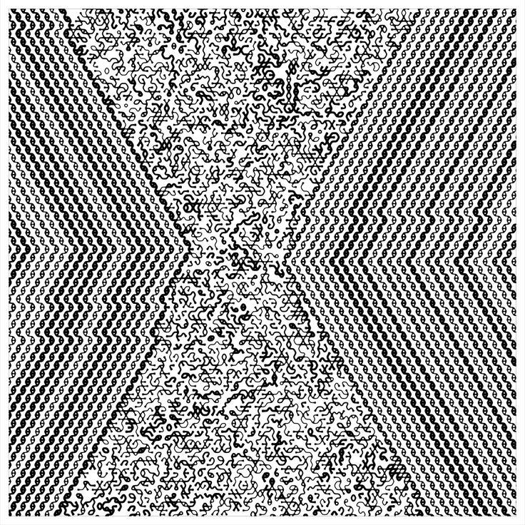 "'Signal & Noise 08-02-2017 # 1' © 2017 Titus Hora  150 x 150cm (54"" x 54"") digital print #abstract #procedural #parametric #generative"