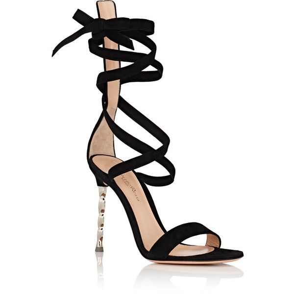 Gianvito Rossi Women's Metal-Heel Suede Ankle-Tie Sandals ($1,145) ❤ liked on Polyvore featuring shoes, sandals, heels, shoes - heels, leather sole shoes, high heeled footwear, open toe sandals, open toe shoes and high heel sandals