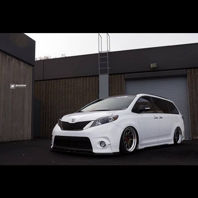 Toyota Sienna by VANkulture braking with our eLINE Series Brake Rotors. photo by: Boden AutoHaus #STOPPINGTHEWORLD #R1concepts #PerformanceBrakeParts #eLINEseries #DrilledAndSlotted #ToyotaSienna #Stance #Bagged #VANkulture