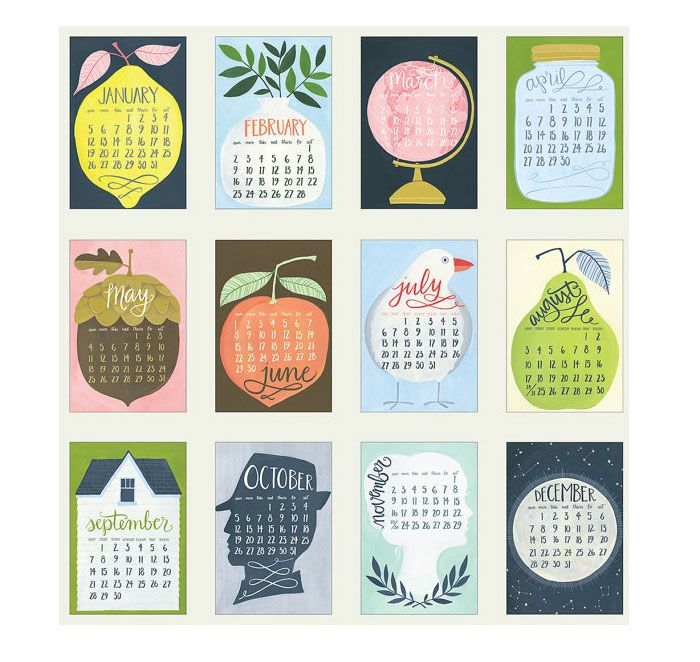 Poppytalk: 10 Beautiful 2014 Calendars. Hmmm, this calendar inspires me to do something similar . . .