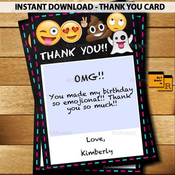 EMOJI Thank You Cards 4x6, Emoji Party Printables, Emoji Birthday Party, Thank You Notes, Editable Instant Download PDF RP-166 by ArtAmoris on Etsy