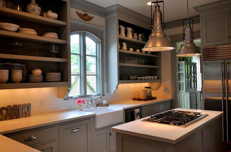 kitchens - gray kitcheb cabinets open shelves farmhouse sink subway tiles backsplash calcutta marble countertops island pendants polished nickel hardware faucet