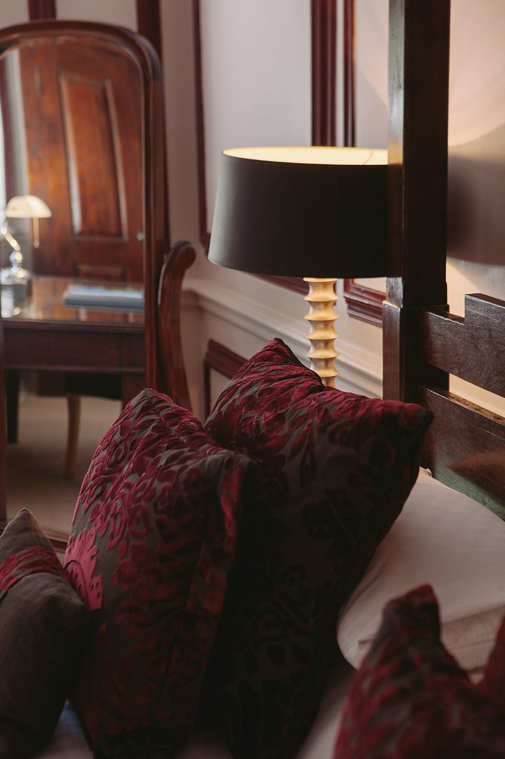 Designer soft furnishings interior decor. King suite - Langdon court, manor house hotel Devon. http://bit.ly/king-queen-suite