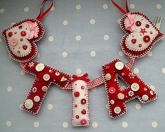 Felt letters garland, to spell out a name