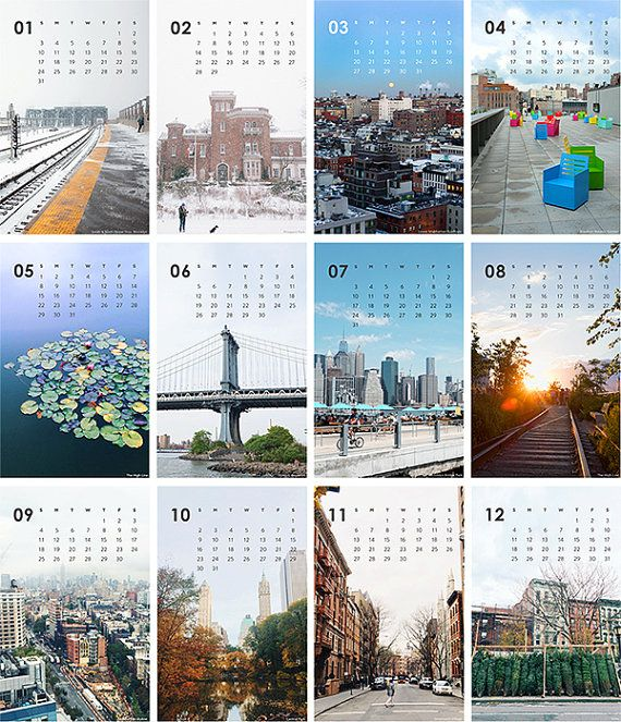 2016 Calendar: A Year of NY 12 original NYC photographs with a cover sheet. Calendar comes unbound and pages can be displayed in a frame, pinned to