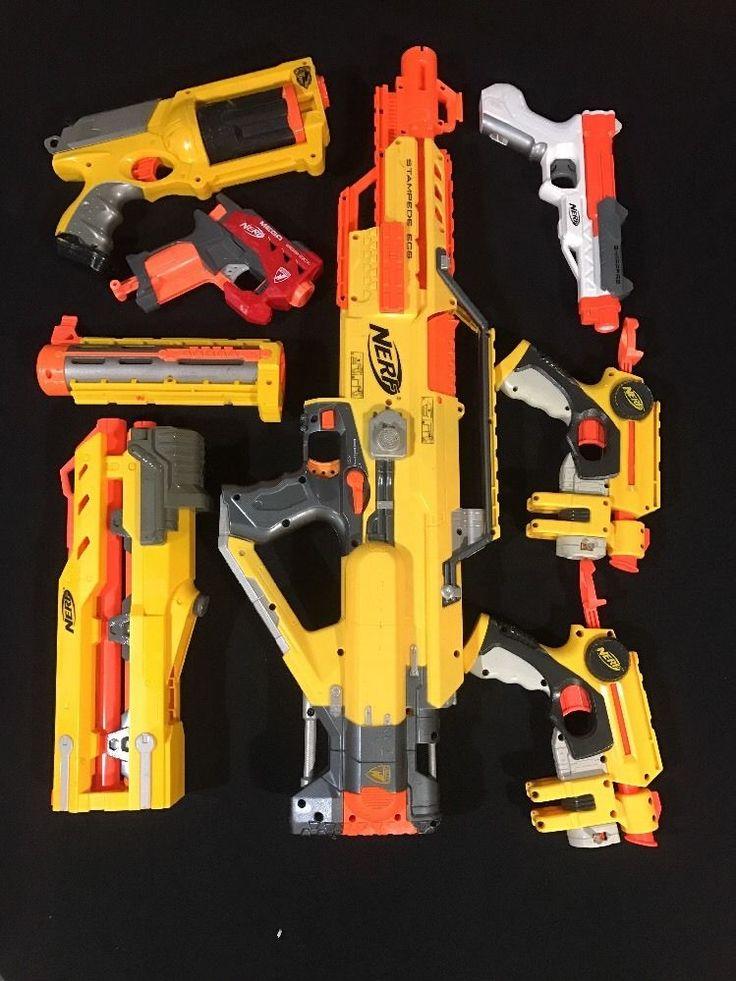 Lot Of 8 Nerf Stampede Maverick Gun Sharpfire Cs-6 Longshot For Parts Or Repair